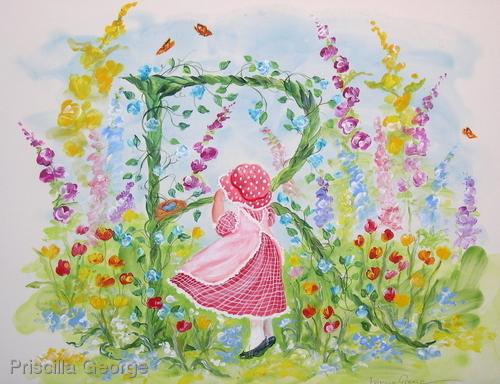 """R"" Young girl in flower garden"