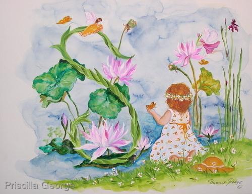 """""""S"""" Young girl in garden"""