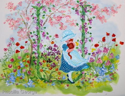"""""""U"""" Young girl in flower garden"""