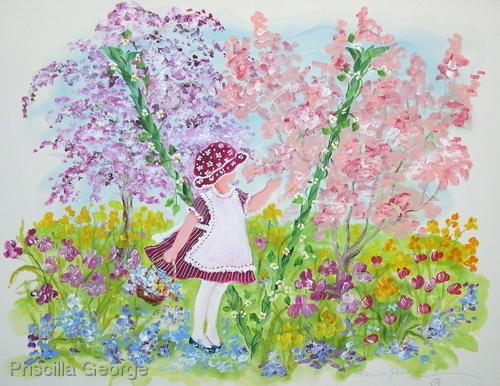"""""""V"""" Young girl in flower garden"""