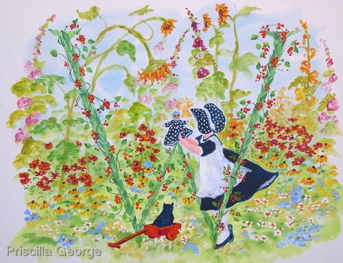 """W"" Young girl in flower garden"