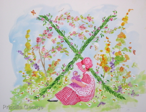 """X"" Young girl in flower garden"