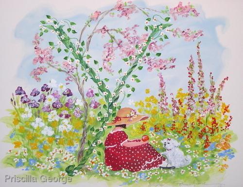 """""""Y"""" young girl in flower garden"""