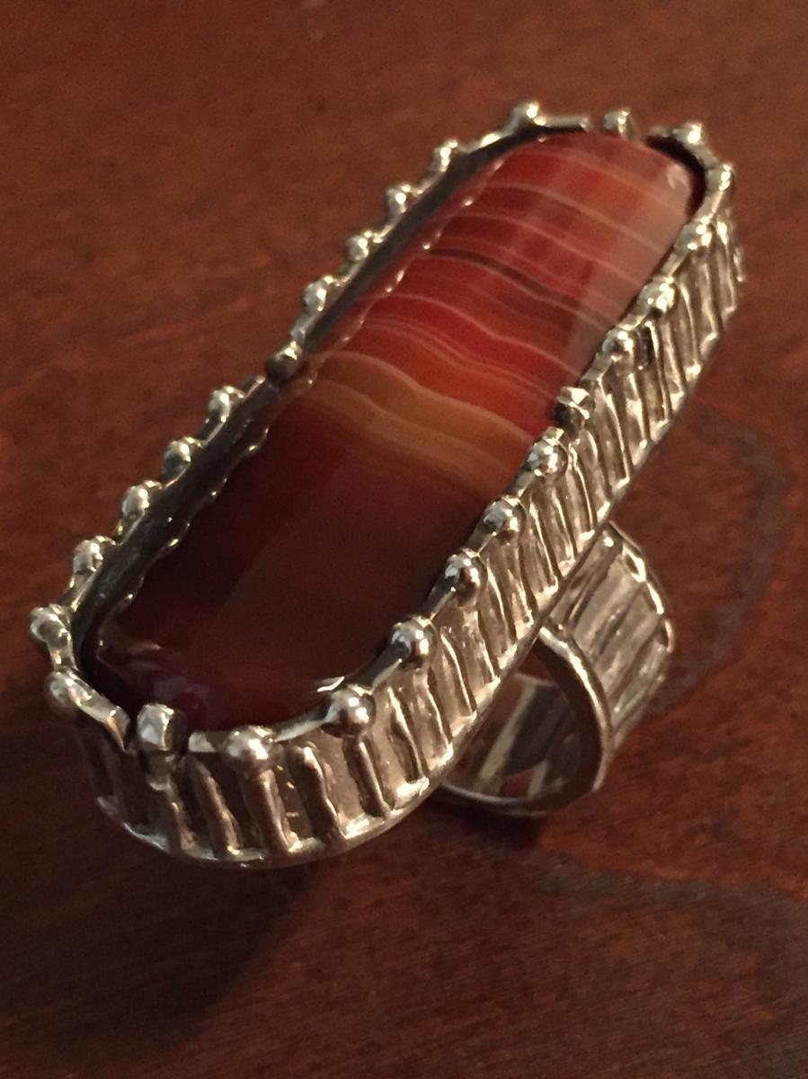 Sterling Silver Agate Ring (large view)