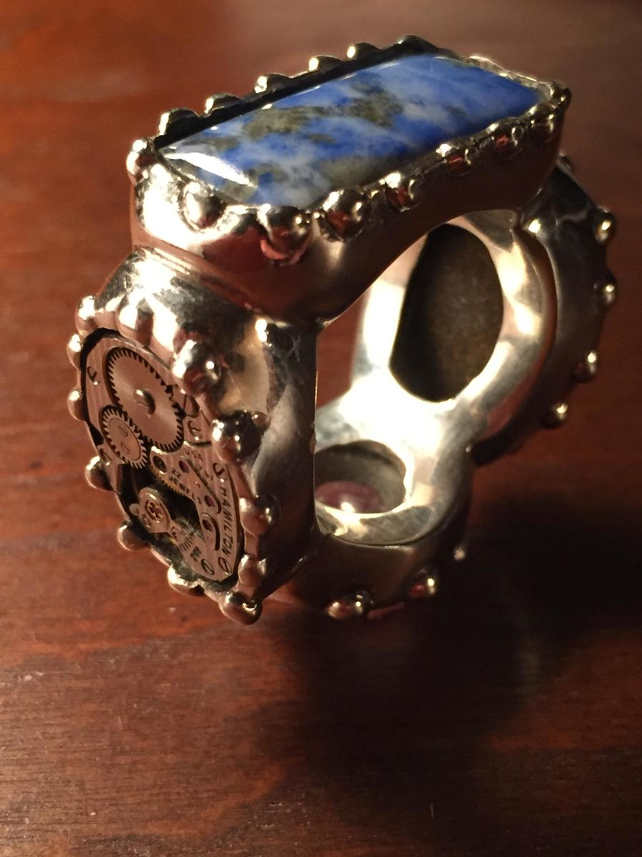 Multi Stone Steam Punk Ring (large view)