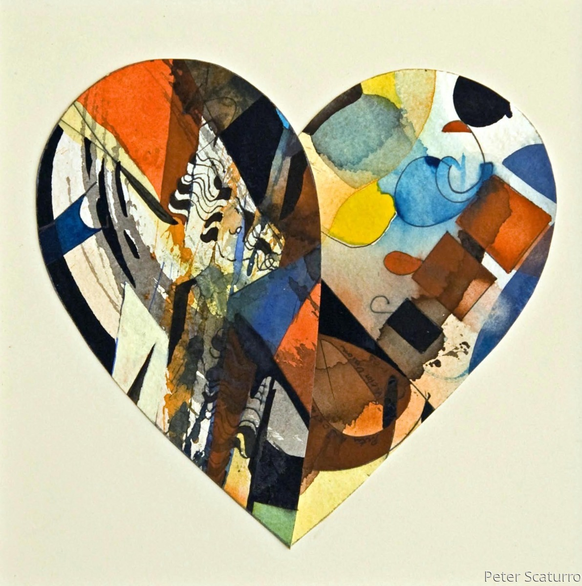 SOLD -Heart Rising 5 -Matted 16.5 x 12.5 in. (large view)