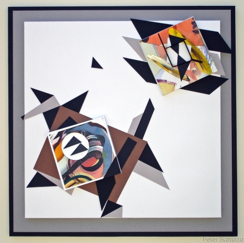 GUSTAV WATERCOLOR CONSTRUCTION #1  (4 @ 9)  Framed by Peter Scaturro