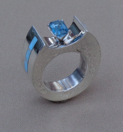 Ellipse Hollowform Ring with Blue Topaz by  Patrick Smith, M.A.  Navajo (Diné)