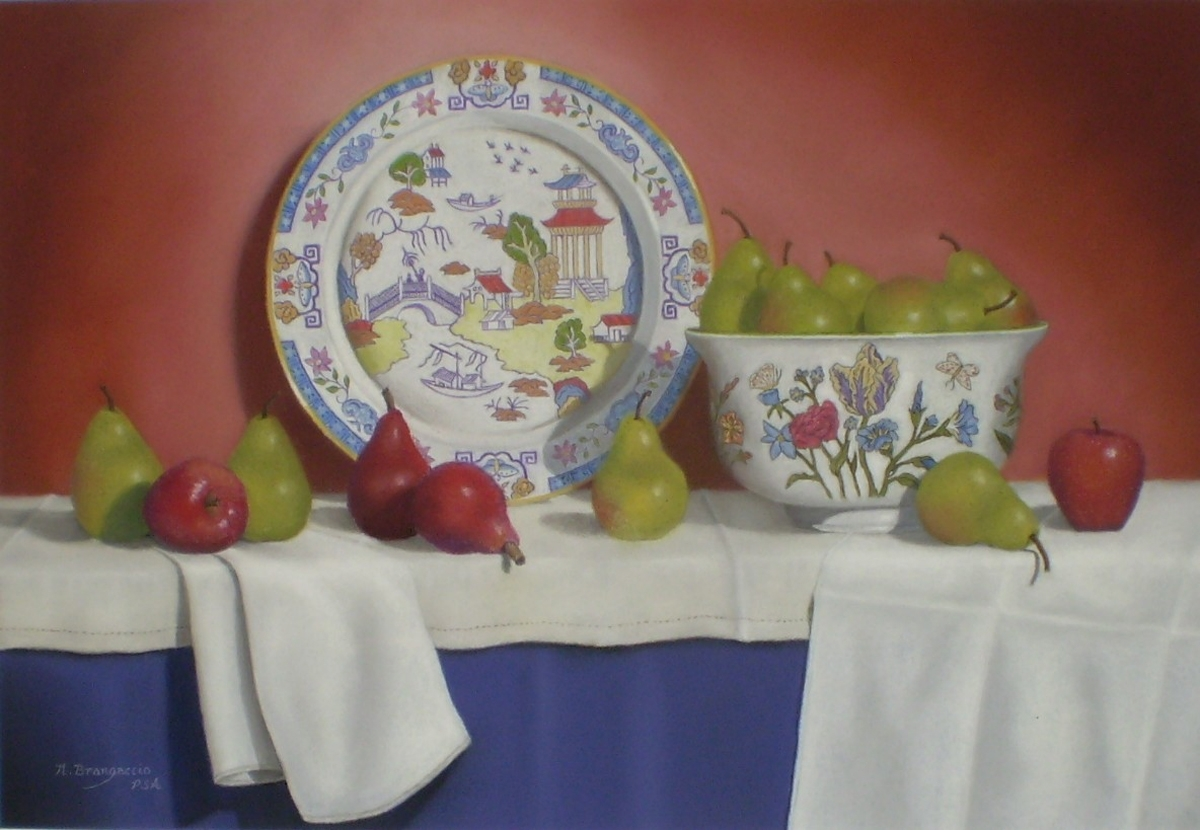 """Nancy Brangaccio - """"Chinese Plate and Pears"""" - Best in Category Still Life (large view)"""