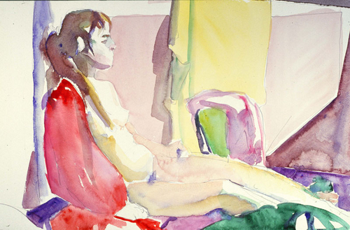 Seated female nude, legs extended