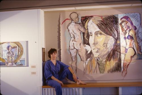 "Installation: Artist with ""Self-portrait with Sydney"""