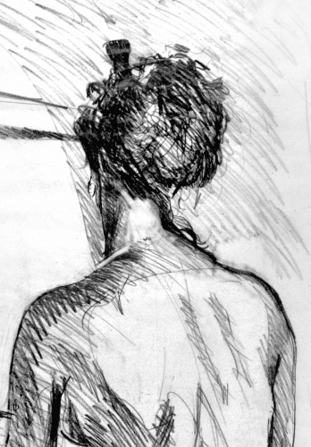 Nude Back with Hair Comb
