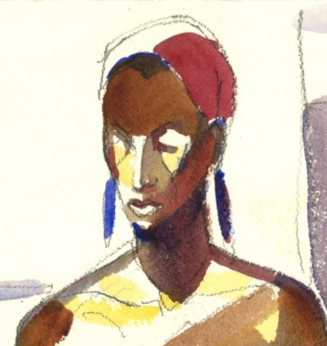 Head, Elegant Black Woman