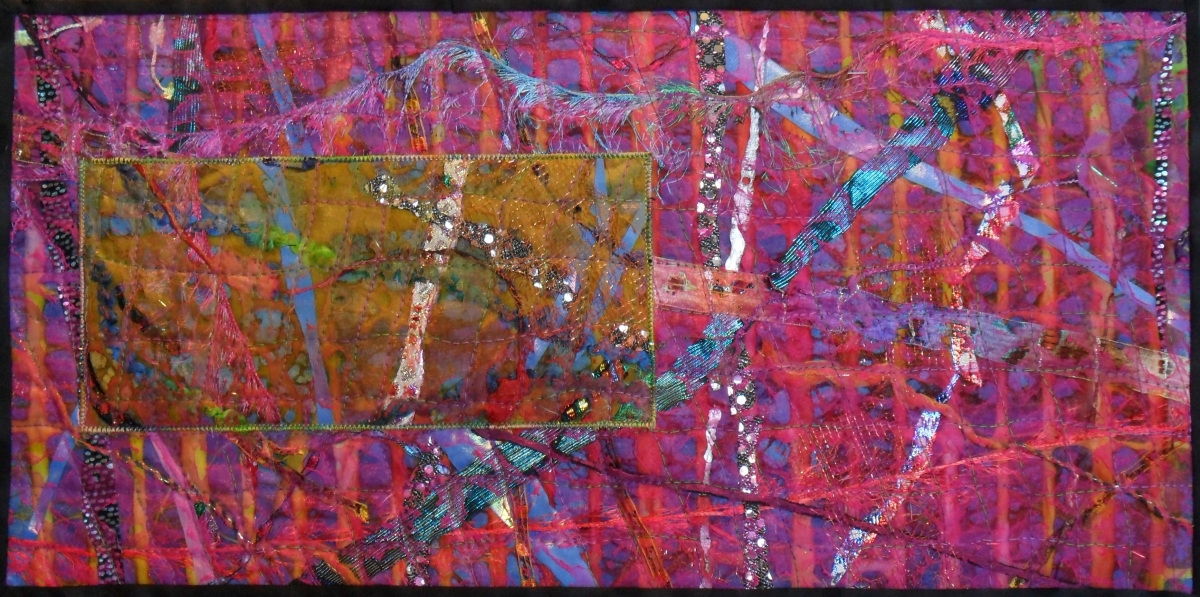Art quilt collage created as the first of six art quilts for the Voyage Art Group; inspired by my trips to England and New York City in the late summer and fall of 2011 (large view)