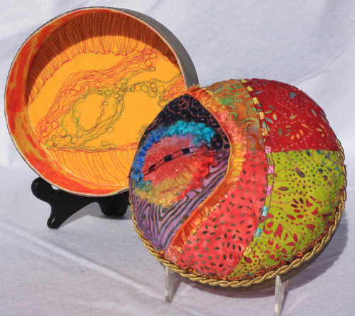 "Quilted Box (6 3/4"" Diameter) by Frances Oldham Murphy/Pupster Productions"