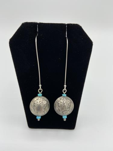 Liberty dime earrings  by Piki wadsworth