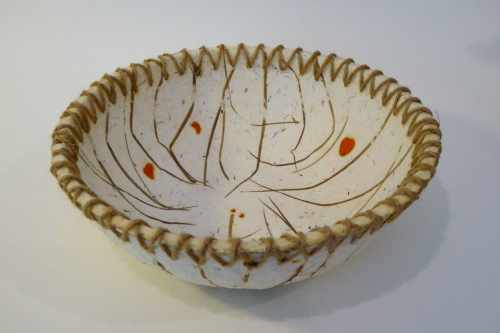 "8"" embedded grass bowl by Pamela Garfield"