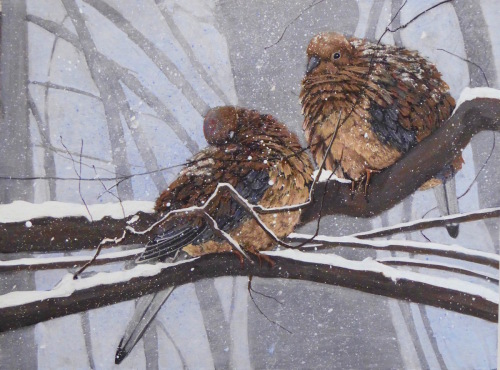 Two Doves in the Snow by Pamela Garfield