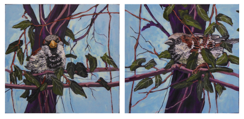 Diptych: Two Sparrows (thumbnail)