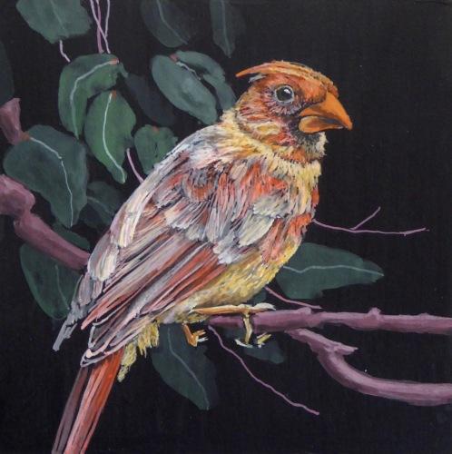 Painting--Acrylic-AnimalsMolting Cardinal