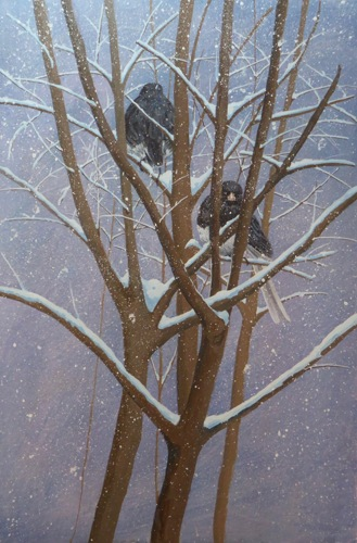 Juncos in Snow diptych, right panel
