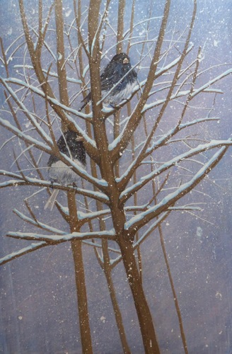 Juncos in Snow diptych, left panel