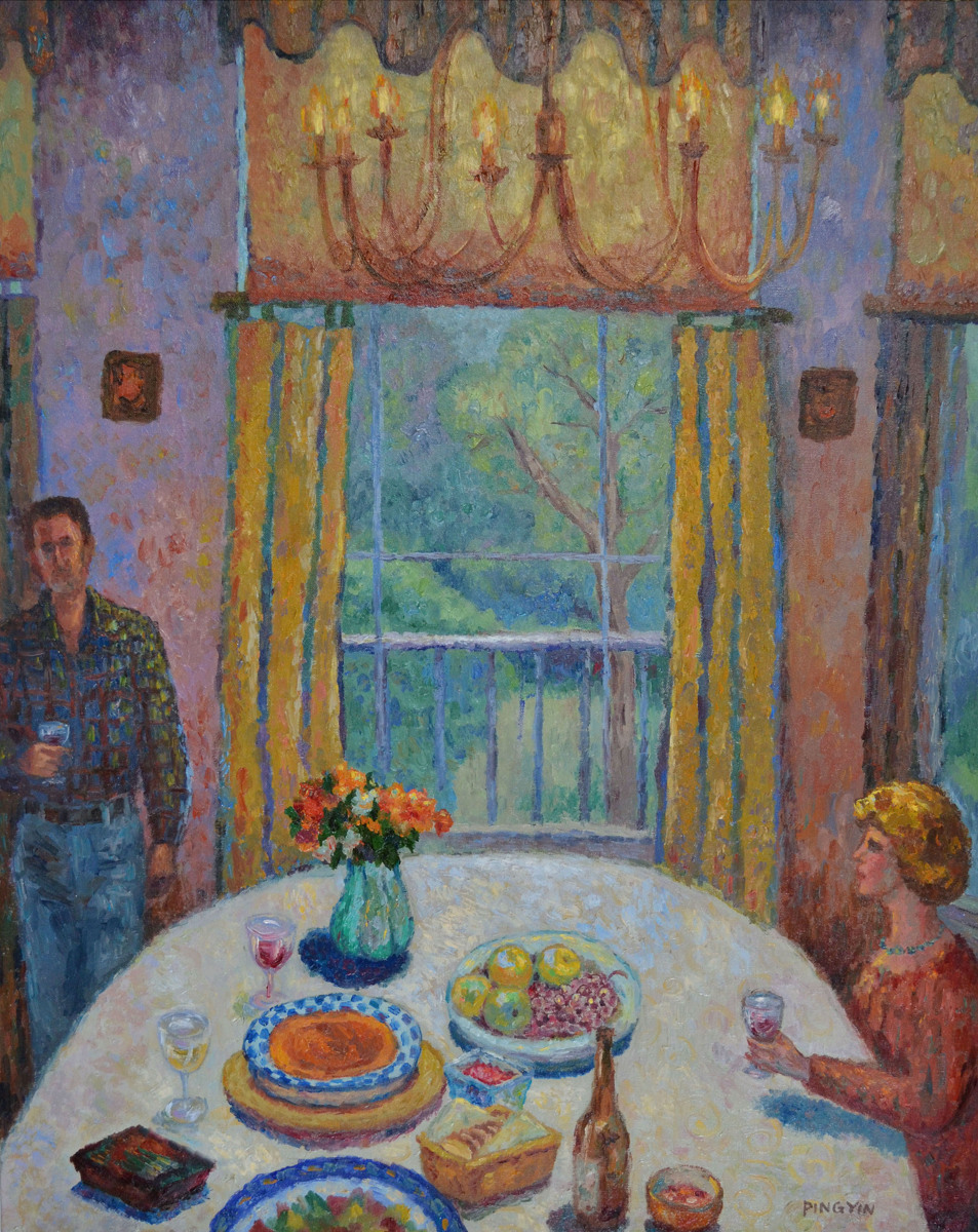 Impressionist oil paintings dining room by ping yin for Canvas painting for dining room