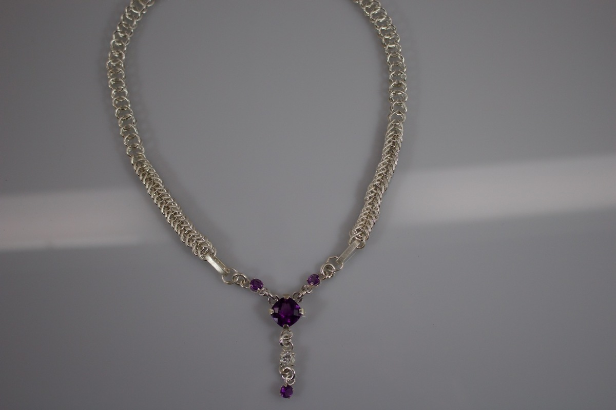 African Amethyst hand woven Fine Silver Necklace (large view)