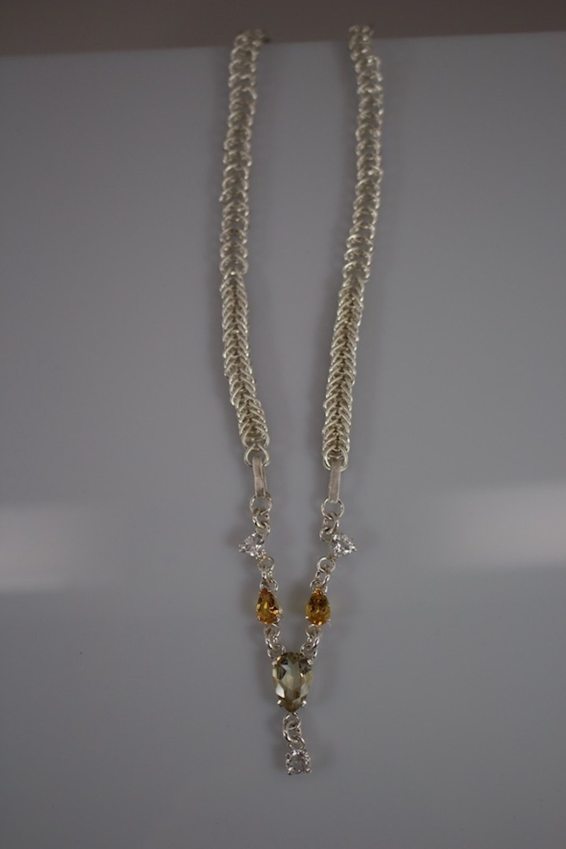 Pear Shaped Yellow Labradorite Hand woven Fine Silver Necklace (large view)