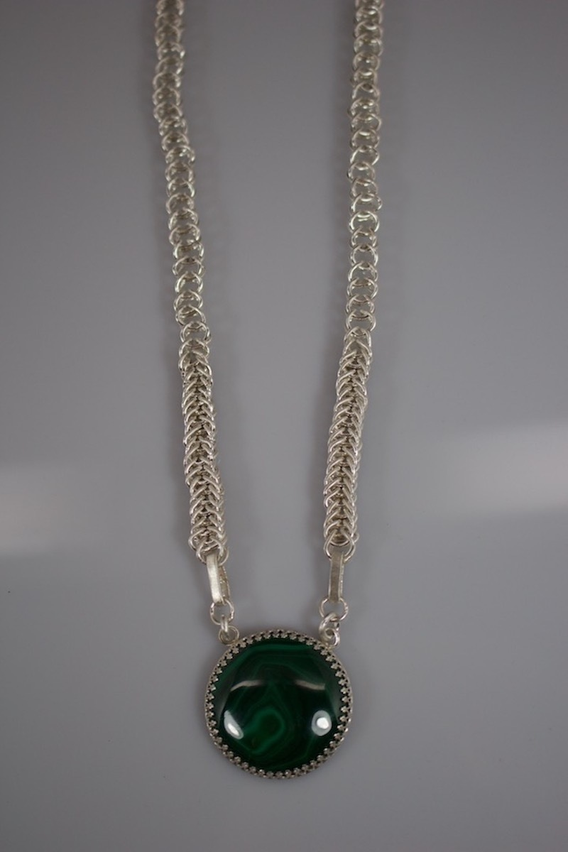 Malachite hand woven Fine Silver Necklace (large view)