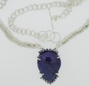 Fine Silver Royal Blue Madagascar Labradorite Necklace set w/ Synthetic Blue Sapphires (thumbnail)