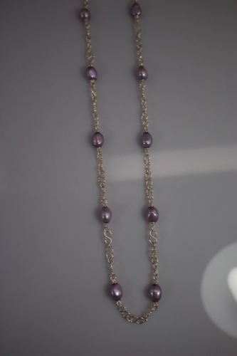 Violet Baroque Pearl Station Necklace