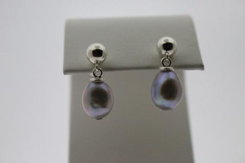 Silver Baroque Pearl Post/clutch earrings