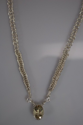 Hand woven Fine Silver Yellow Labradorite & White Topaz Necklace