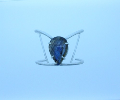 Fine Silver Cuff Bracelet w/ Pear Shaped Flashy Blue Madagascar Labradorite