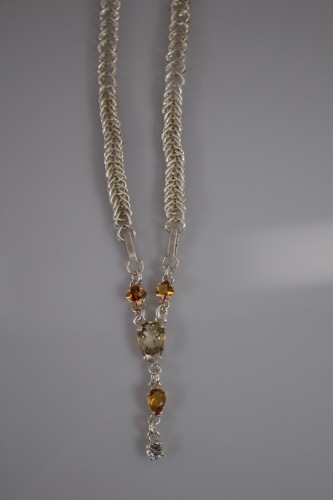 Pear Shaped Yellow Labradorite Fine Silver Hand Woven Necklace (large view)