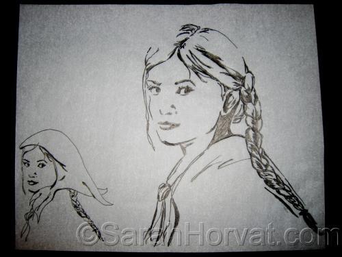 Lisenka, ink by Sarah Horvat