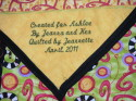 Jeanna's Quilt for Ashlee - close up of custom embroidered label (thumbnail)