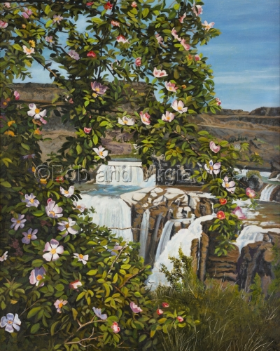Roses at Shoshone Falls, Idaho by Rainbow Art--Virgia and Robert West