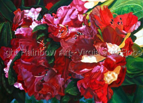 Red Rhodies by Rainbow Art--Virgia and Robert West