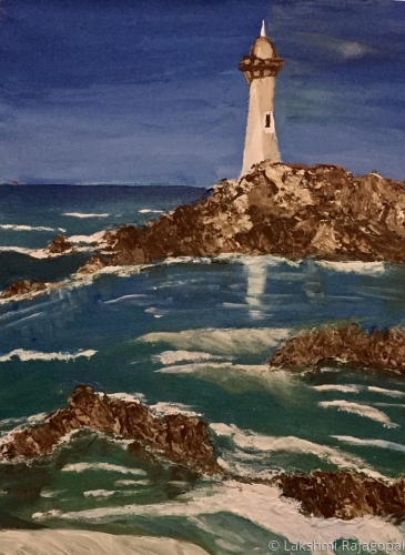 Title: lighthouse, rocks, and waves  Theme : Seascape  Medium: Acrylic on canvas