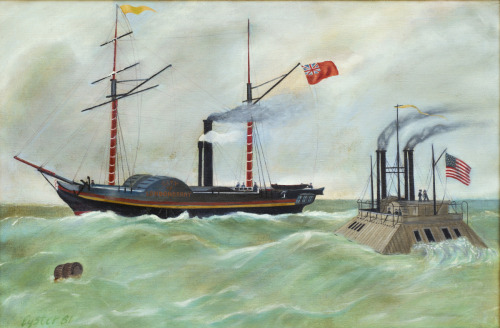 Confederate Blockade Runner Challenged by Union Ironclad