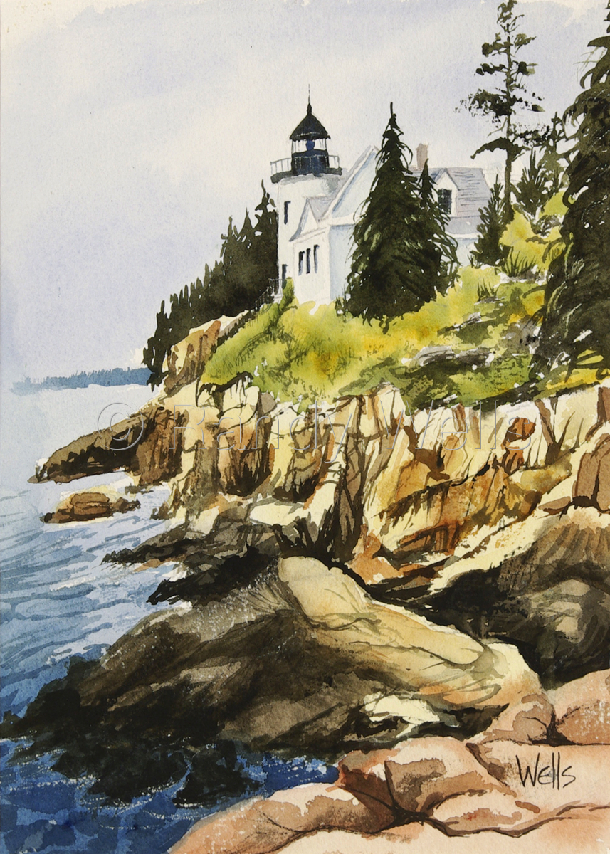 Landscape Watercolor Paintings: Bass Harbor Lighthouse by