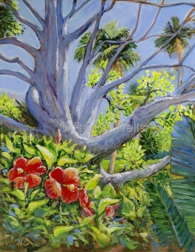 Bare Tree and Hibiscus