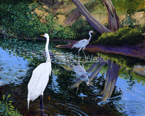 Herons in Paradise by Randy Wells | American Impressionism