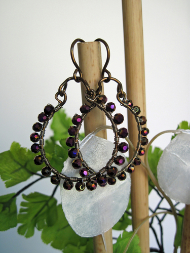 Plum Crystal Earrings
