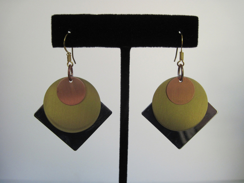 Silver, Gold, and Copper Earrings