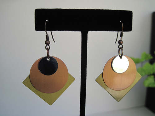 Gold, Copper, and Silver Earrings