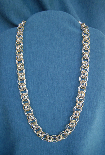 Silver and Gold Chain Maille Necklace
