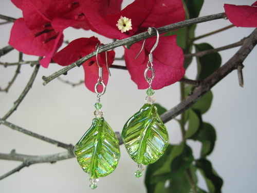 Irridescent Green Leaf Earrings